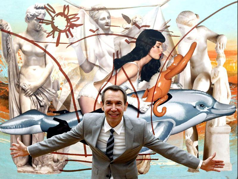 US artist Jeff Koons poses in front of his painting 'Antiquity 3' at the Schirn Kunsthalle gallery in Frankfurt, central Germany. AP/Mario Vedder