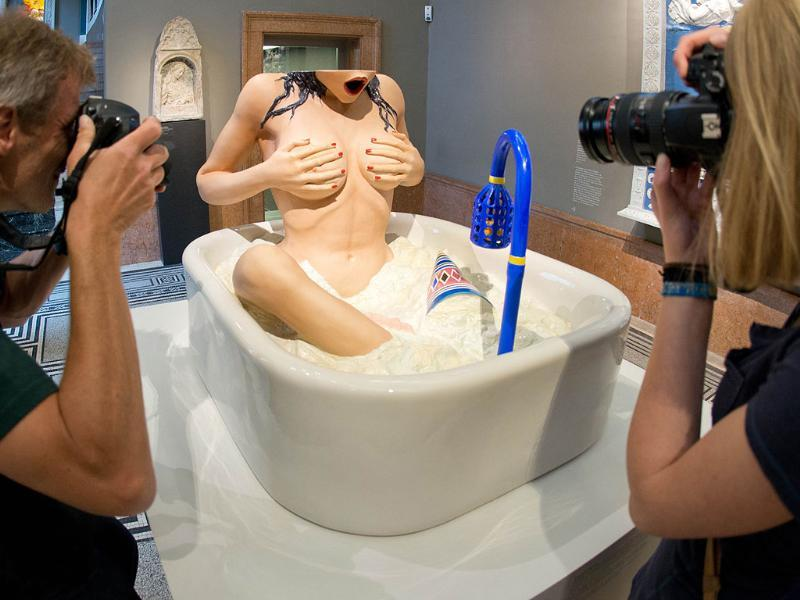 US artist Jeff Koons' sculpture 'Woman in tub' is photgraphed at the Liebighaus Skulpturen Sammlung during the opening of the exhibition Jeff Koons - The Painter & The Sculptor in the central German city of Frankfurt. AFP/Boris Roessler