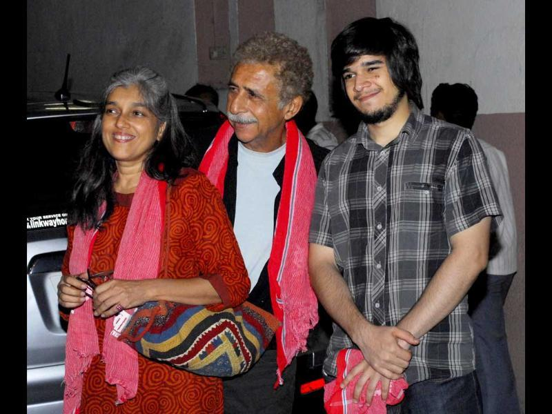 Naseeruddin Shah with wife Ratna Pathak Shah and son Vivaan Shah.