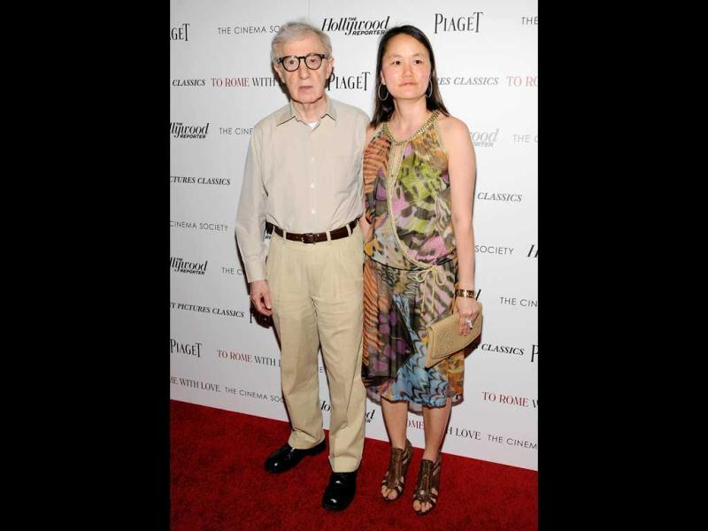 Writer and director Woody Allen and his wife Soon-Yi Previn arrive at a special screening. (AP)