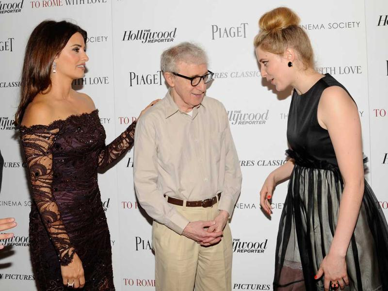 Actress Penelope Cruz, left, writer and director Woody Allen and actress Greta Gerwig share a light moment. (AP)