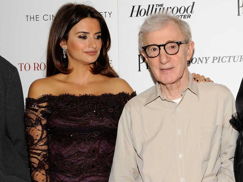 Filmmaker Woody Allen along with the cast of his film To Rome With Love, including Penelope Cruz and Alec Baldwin, was present at its premiere in New York. (AP)