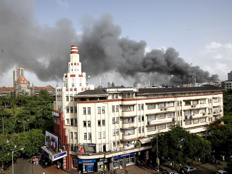 Fire broke out in the 4th, 5th and 6th floors of Mantralaya building in Mumbai. HT/Vijayanand Gupta