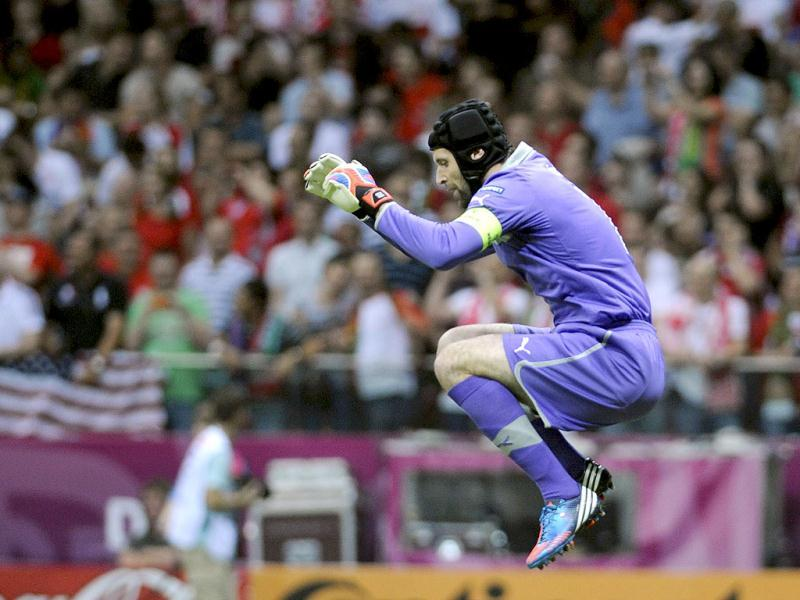 Czech Republic's goalkeeper Petr Cech jumps during their Euro 2012 quarter-final soccer match against Portugal at the National stadium in Warsaw. Reuters/Pawel Ulatowski