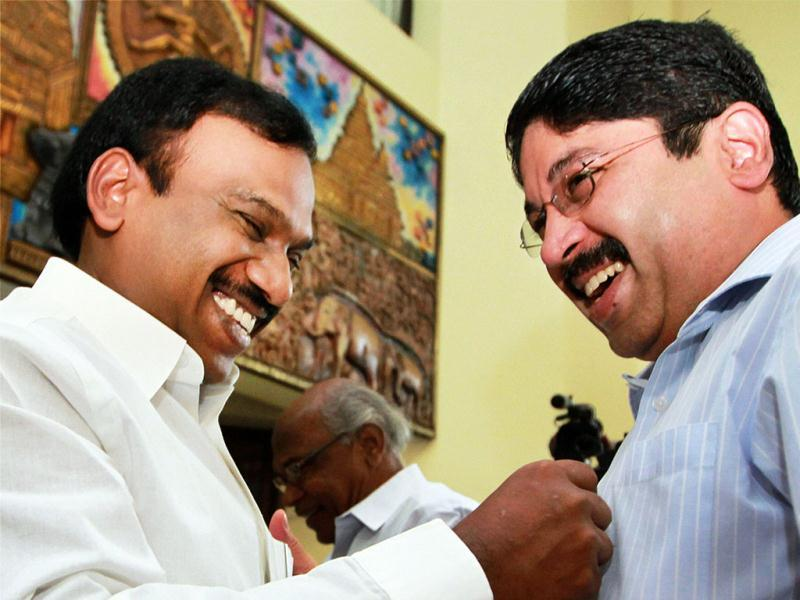 Former Union mnisters and DMK leaders Dayanidhi Maran and A Raja at the party's executive meeting to discuss the arrest of its leaders and ways to handle the situation at Anna Arivalayam, in Chennai. PTI Photo by R Senthil Kumar