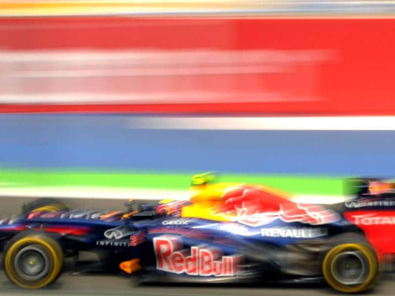Red Bull Racing's Australian driver Mark Webber drives at the Valencia Street Circuit in Valencia during the second practice race of the European Formula One Grand Prix. AFP Photo / Tom Gandolfini