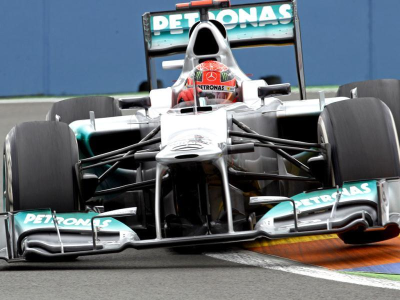Mercedes formula one driver Michel Schumacher of Germany steers his car during a test session at Valencia street circuit, Spain. The race European Formula One Grand Prix will take place over the street circuit surrounding the city's port. AP photo/Alberto Saiz
