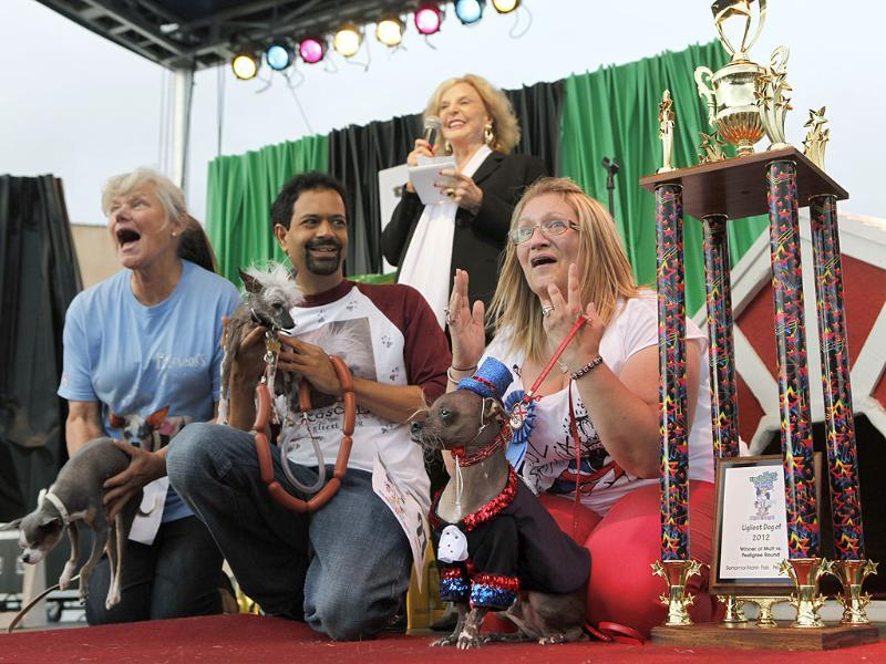 (From right) Bev Nicholson of Peterborough, England reacts as her Chinese crested dog, Mugly, wins the title of