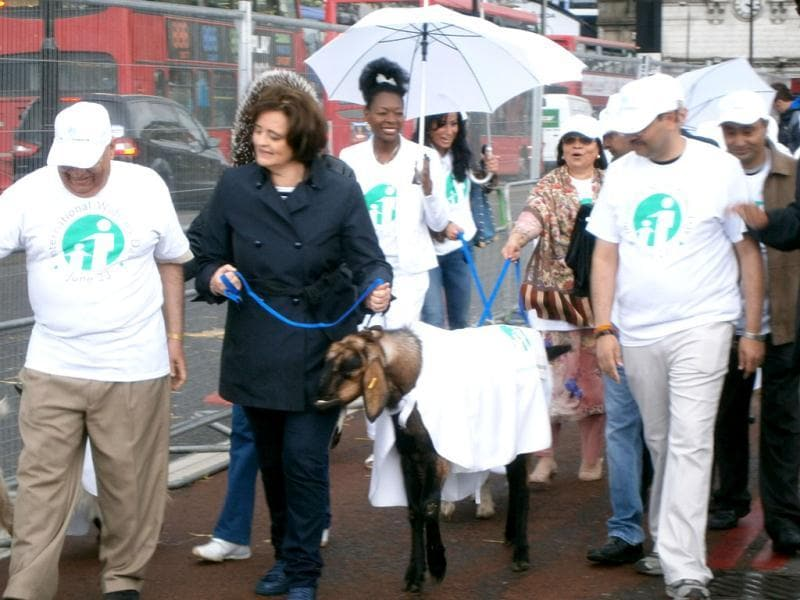 NRI businessman Lord Raj Loomba and Cherie Blair drive a herd of goats over London Bridge in support of charity for widows on World Widows' Day. HT/Dipankar De Sarkar