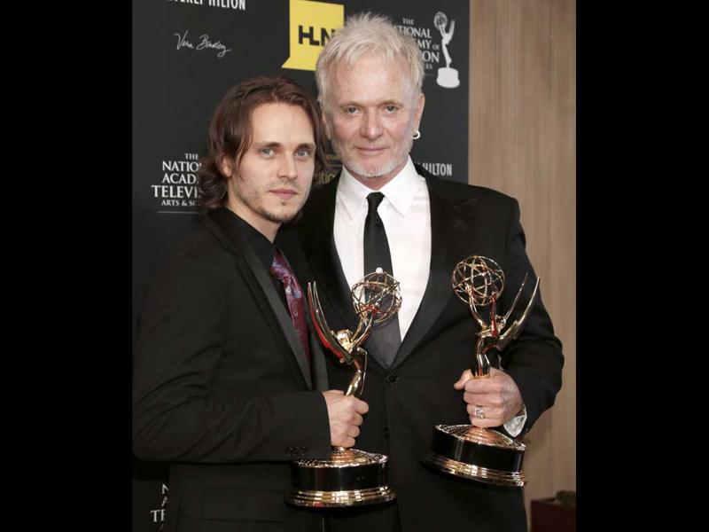 Jonathan Jackson, left, winner of the award for supporting actor in a drama series for