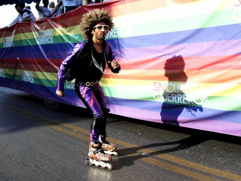 A participant running on skates take part in a parade celebrating sexual diversity in Monterrey. Reuters/Daniel Becerril