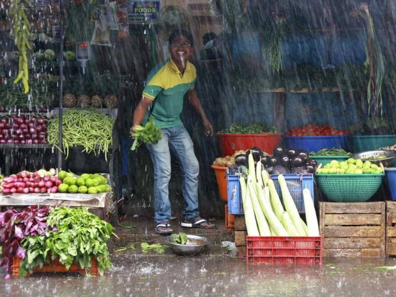 A vendor smiles while standing at his roadside vegetable stall during monsoon rains in Kochi. The India Meteorological Department (IMD) has forecast average rainfall for the whole June to September. Reuters/Sivaram V