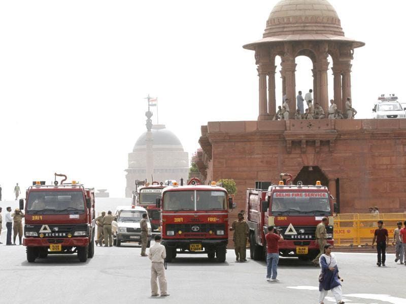 Fire tenders outside the North Block where a fire broke out at the second floor of the home ministry in New Delhi. Arvind Yadav / Hindustan Times