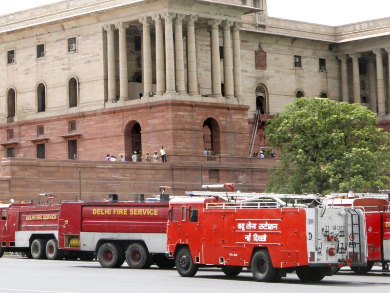 Fire tenders outside the North Block where a fire broke out at second floor at the home ministry in New Delhi. Arvind Yadav / Hindustan Times