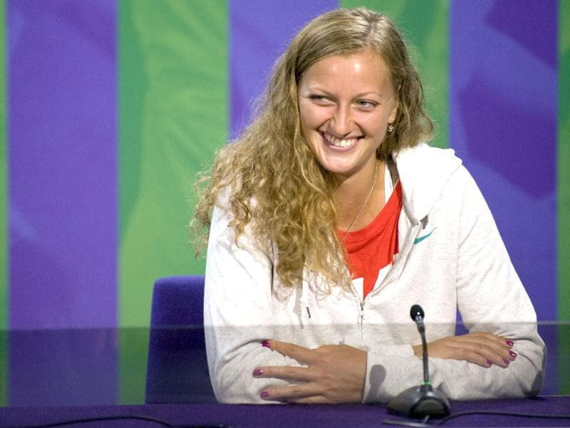 Petra Kvitova of the Czech Republic speaks at a news conference the day before the start of the Wimbledon tennis championships 2012 in London. Reuters/Neil Tingle/AELTC/Pool