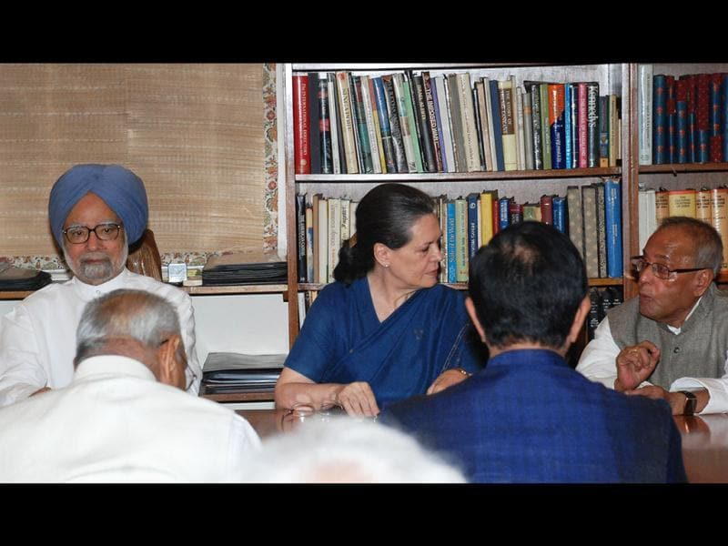 Congress President Sonia Gandhi, Prime Minister Manmohan Singh, UPA Presidential candidate Pranab Mukherjee at the Congress Working Committee meeting in New Delhi. Agencies