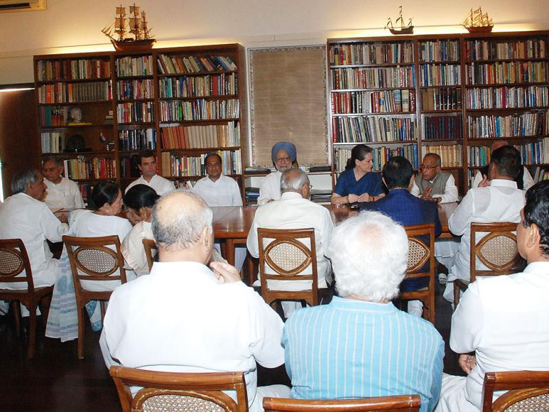 Congress President Sonia Gandhi presiding over the Congress Working Committee meeting at her 10 Janpath residence in New Delhi. Prime Minister Manmohan Singh, UPA Presidential candidate Pranab Mukherjee, Party General Secretary Rahul Gandhi and others also seen in the picture. Agencies