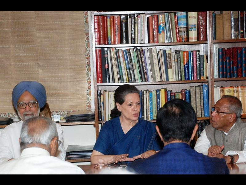 Congress President Sonia Gandhi, Prime Minister Manmohan Singh, UPA Presidential candidate Pranab Mukherjee at the Congress Working Committee meeting in New Delhi on Monday. Agencies