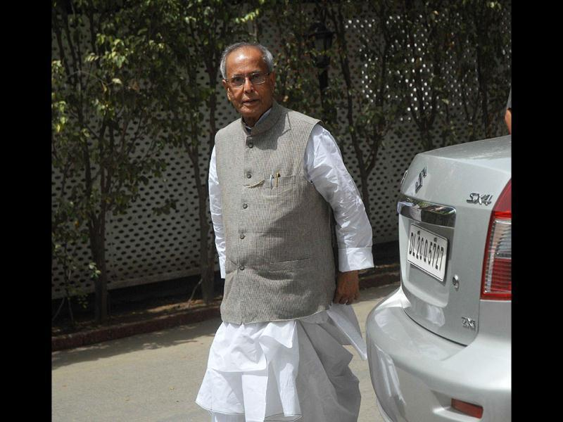 Senior Congress leader and UPA Presidential candidate Pranab Mukherjee arriving to attend the Congress Working Committee meeting at the residence of party president Sonia Gandhi in New Delhi. Agencies