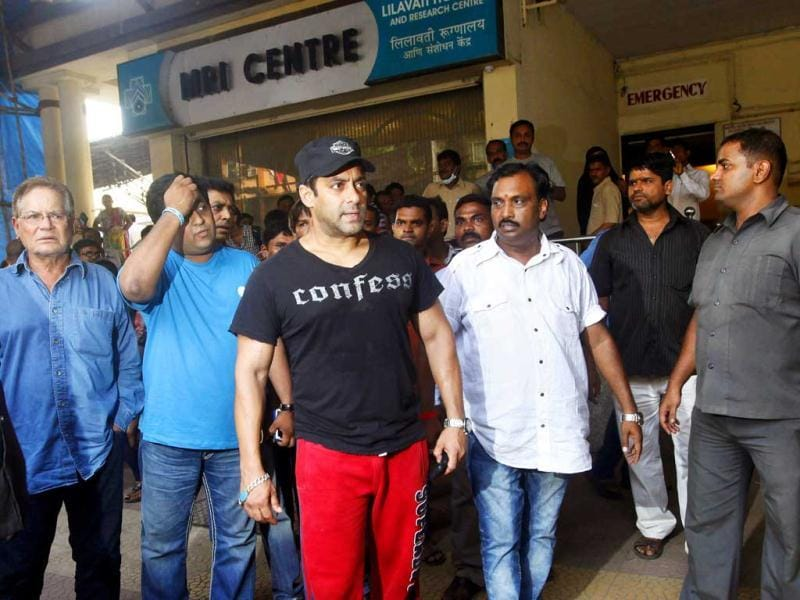 Known for his big heart, actor Salman Khan, along with father Salim Khan, visited his injured crew after a mishap at Mehboob Studio on the set of the upcoming Hindi film Dabangg 2.