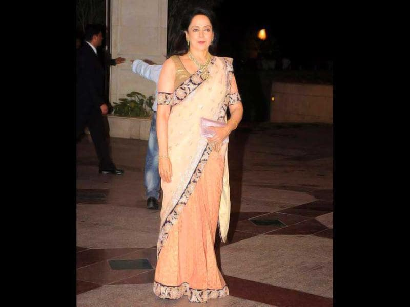 Hema Malini all decked up for daughter Esha's Sangeet.