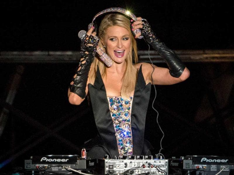 Paris sure seems to be enjoying grooving to the beats of the music she played at Sao Paulo, Brazil. (AFP Photo)