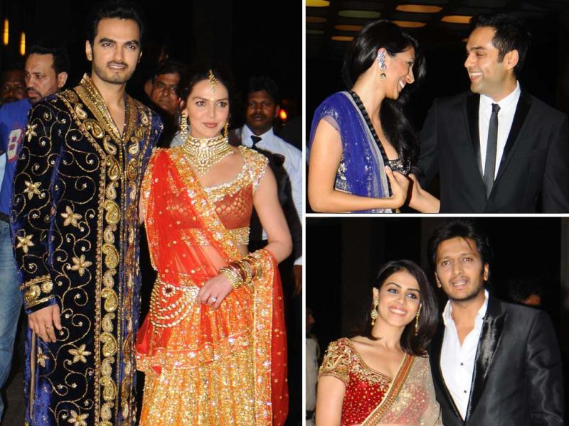 Esha Deol and Bharat Takhtani's sangeet ceremony was a star-studded affair. Abhay Deol was accompanied by girlfriend Preeti Desai, Riteish and Genelia were also spotted at the event. Click for for more celebs.