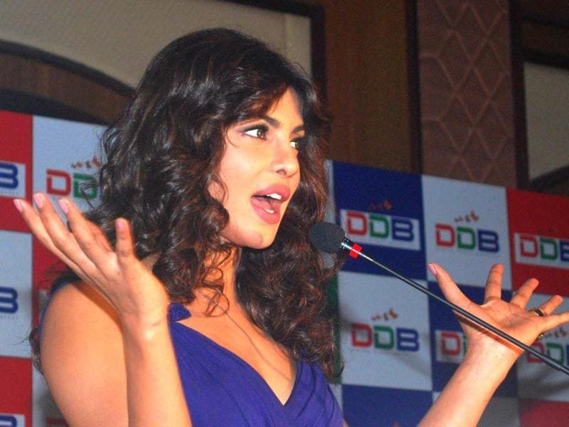 Priyanka Chopra during the launch of Digital Direct Broadcast (DDB),the world's first digital entertainment platforms on the Indian television sets,in Mumbai on Monday. (UNI)
