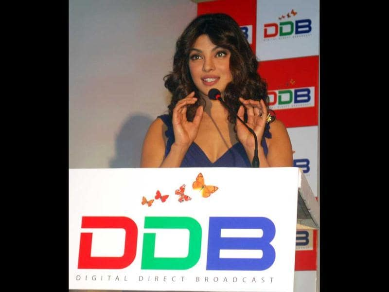 Priyanka Chopra looks stunning in her blue outfit as she lauches Digital Direct Broadcast (DDB), world's first digital entertainment platforms on the Indian television sets.