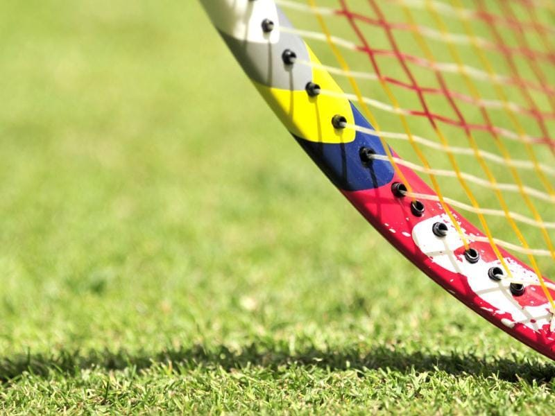 Japan's Kei Nishikori's racket viewed during his first round men's singles match against Kazakhstan's Mikhail Kukushkin on the second day of the 2012 Wimbledon Championships tennis tournament at the All England Tennis Club in Wimbledon, southwest London. (AFP Photo)