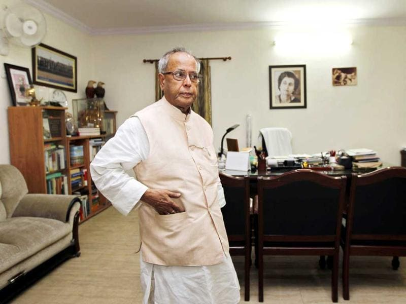 UPA Presidential candidate Pranab Mukherjee relaxes in his Delhi home. HT/Ajay Aggarwal