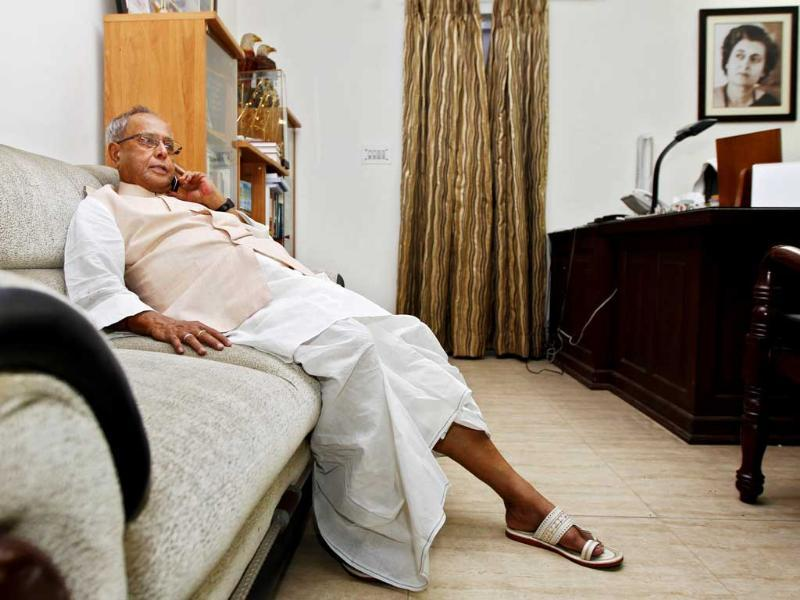 UPA Presidential candidate Pranab Mukherjee relaxes in his home after resignation as finance minister, in New Delhi. HT/Ajay Aggarwal