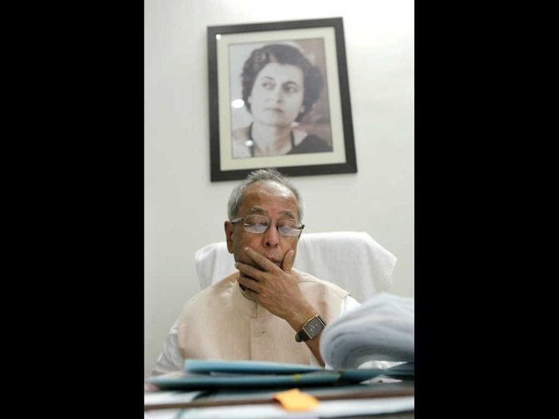 UPA Presidential candidate Pranab Mukherjee at the office space in his residence in New Delhi. HT/Gurinder Osan