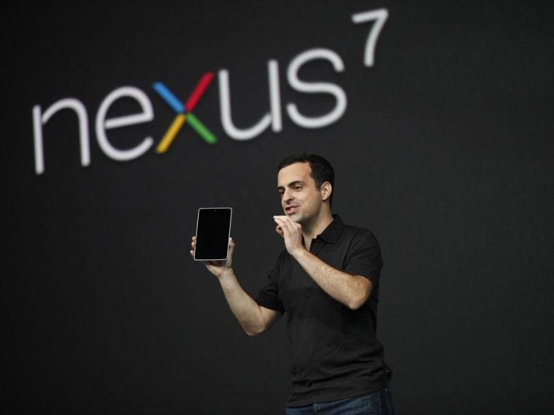 Hugo Barra, director of product management of Google, unveils Nexus 7 tablet during Google I/O 2012 Conference at Moscone Center in San Francisco. Reuters photo/Stephen Lam
