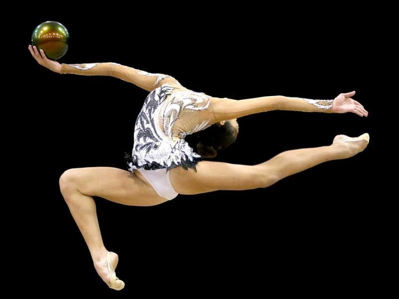 Rebecca Sereda competes during the rhythmic all-around finals at the USA Gymnastics Championships in San Jose, Calif. AP Photo/Jae C Hong