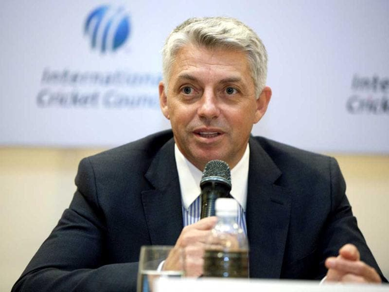 Newly appointed chief executive of the International Cricket Council (ICC) David Richardson of South Africa addresses a press conference in Kuala Lumpur, Malaysia. AP Photo/Mark Baker