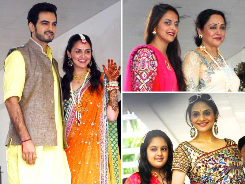 Esha Deol's mehendi ceremony was organised at her residence in Mumbai. The actress wore a yellow and green Neeta Lulla lehenga at the ceremony. Close friends and relatives attended the event.