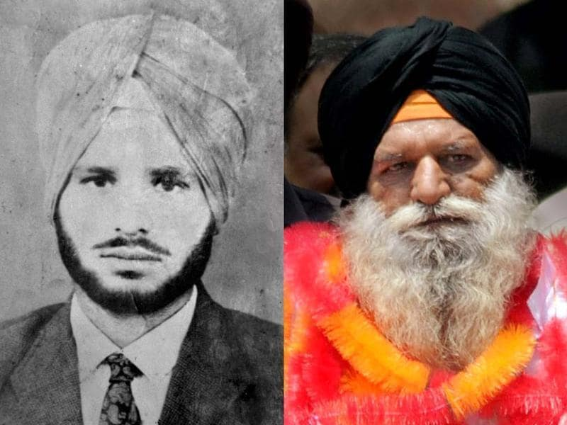 A combo picture shows a present photograph of Surjeet Singh (R) along with one taken 31 years ago. Singh arrived in India after being released from a Pakistan jail. PTI photo