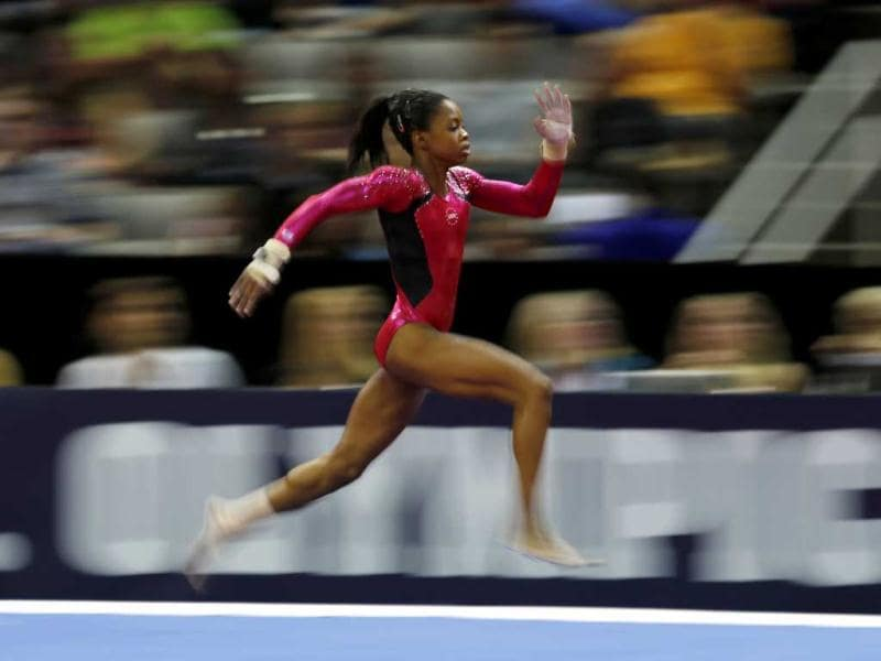 US gymnast Gabrielle Douglas runs to make her vault during her performance at the US Olympic gymnastics trials in San Jose, California. Reuters/Mike Blake