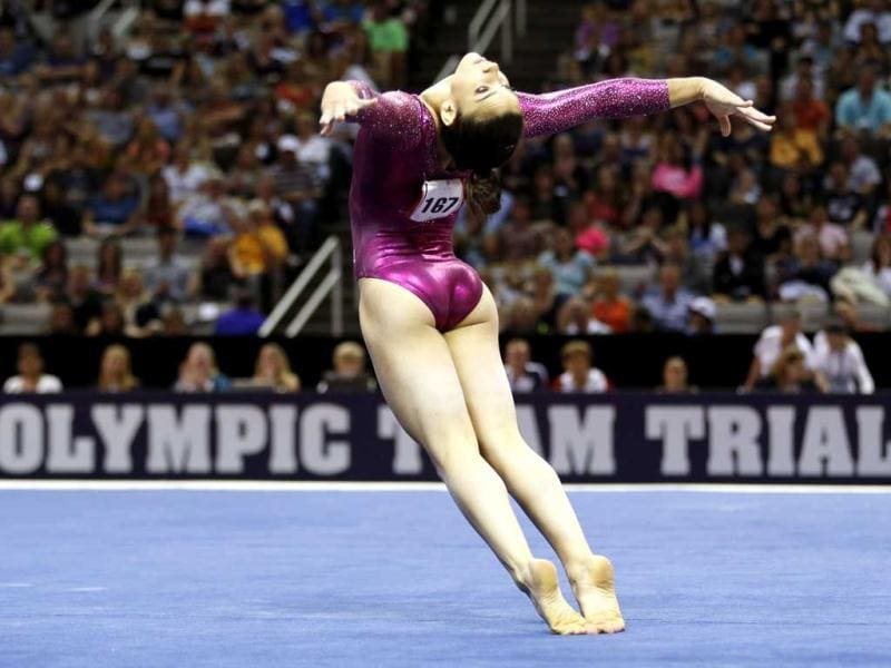 US gymnast Alexandra Raisman performs on the floor at the US Olympic gymnastics trials in San Jose, California. Reuters/Mike Blake