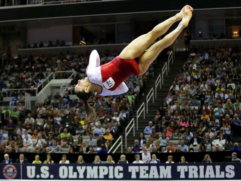 US gymnast Jordyn Wieber performs on the floor at the US Olympic gymnastics trials in San Jose, California. Reuters/Mike Blake