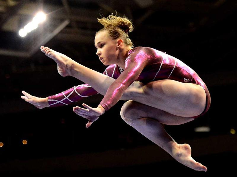 Rebecca Bross competes on the beam during day 2 of the 2012 US Olympic Gymnastics Team Trials at HP Pavilion in San Jose, California. Ronald Martinez