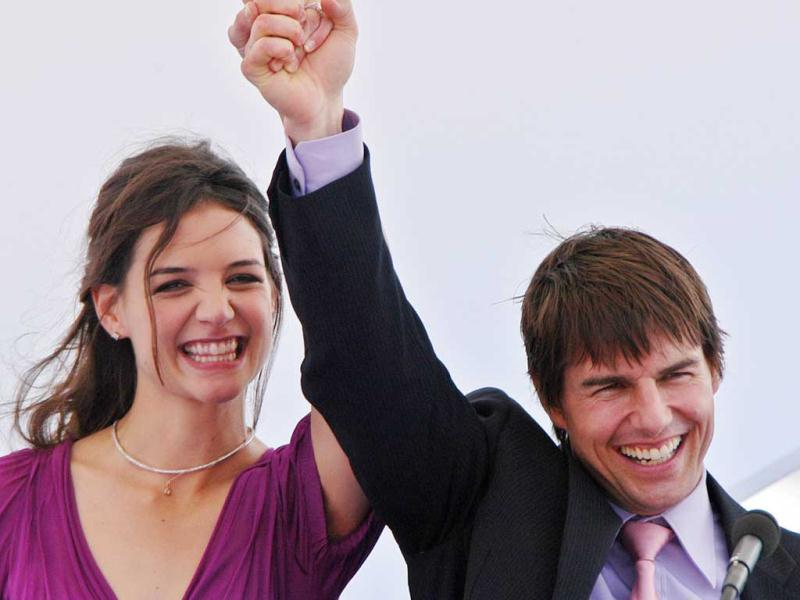 In 2005, Tom Cruise made public appearances as he waved to well-wishers on his arrival with fiancee Katie Holmes in the old port of Marseille, southern France.