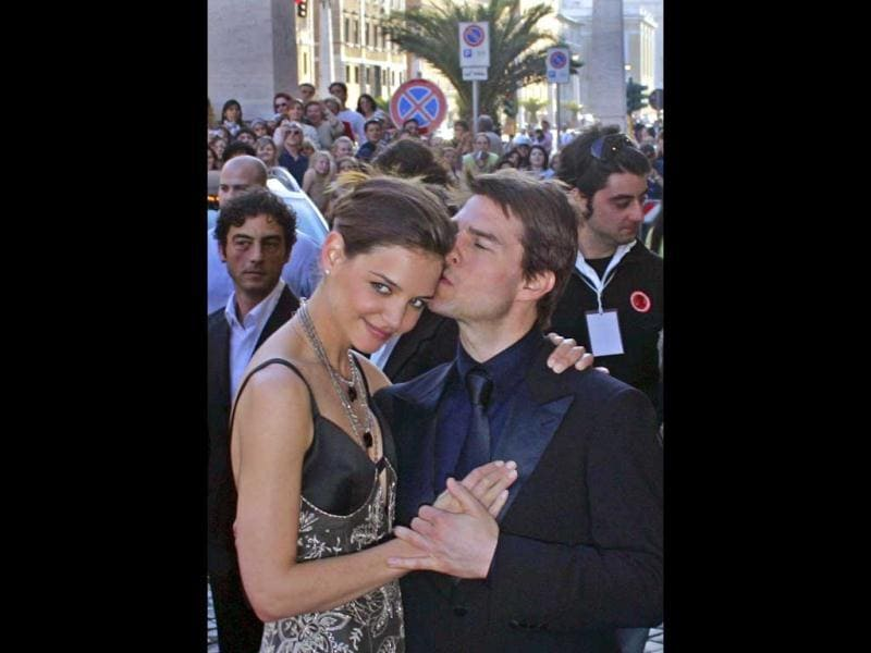 Four years after he split from his second wife Nicole Kidman, Tom started dating Katie Holmes in 2005 and the couple was sighted at events like this one at the David Di Donatello awards ceremony.
