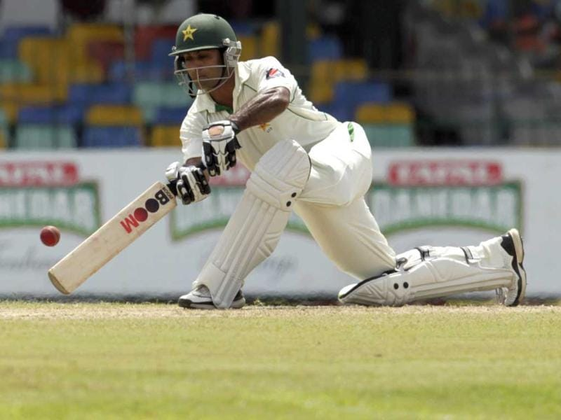 Pakistan's batsman Mohammad Hafeez plays a shot during the first day's play of the second test cricket match between Sri Lanka and Pakistan in Colombo, Sri Lanka. AP/Eranga Jayawardena