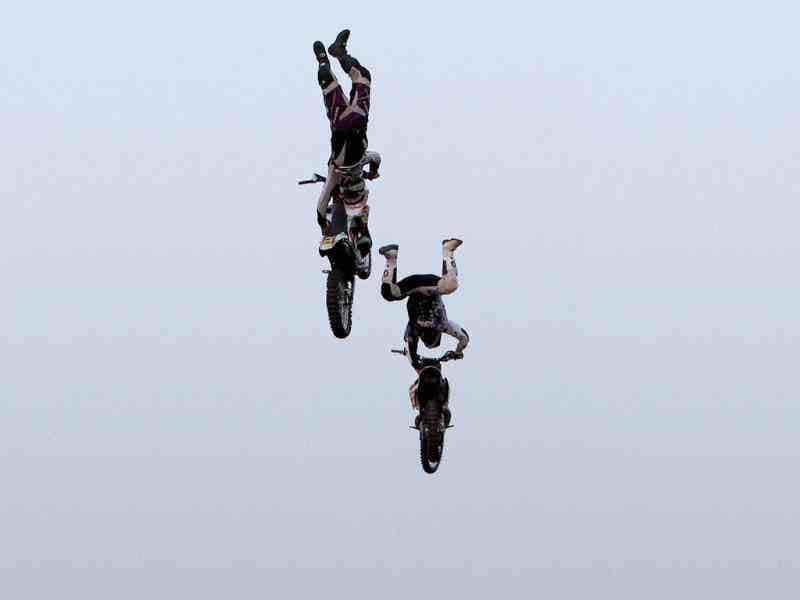 RedBull X-Fighters perform at the India Gate in New Delhi. (PTI Photo/Shahbaz Khan)