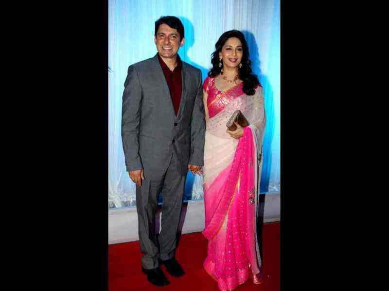 Madhuri Dixit and husband Dr Nene at the reception.