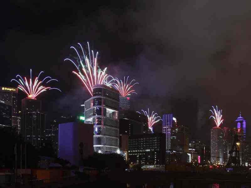 Fireworks explode over commercial towers at Hong Kong's financial Central district, the day marking the 15th anniversary of the territory's handover to Chinese sovereignty from British rule. (Reuters/Bobby Yip)