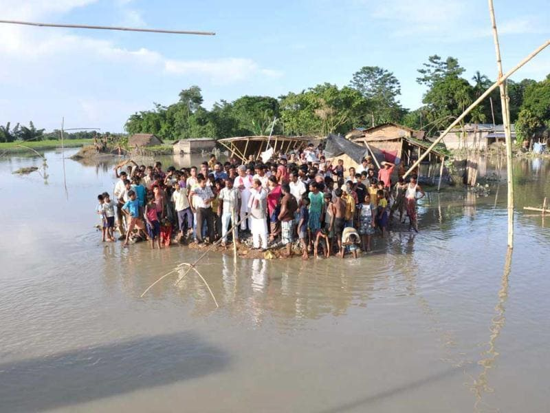 BJP National general secretary Vijay Goel visits flood-hit Pasalivillage under Laharighat in Assam. Incessant heavy rains have caused massive flooding and landslides in the state.