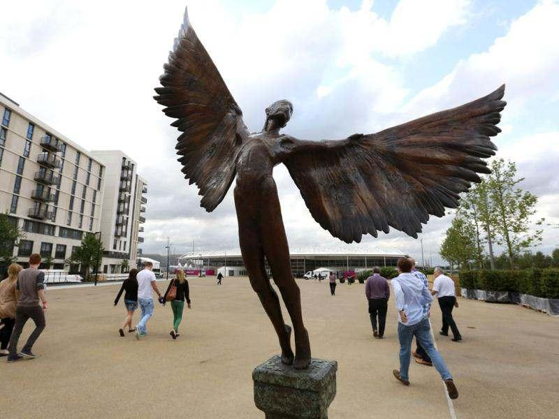 A statue of Icarus marks the way to the 5000 capacity temporary dining hall of the Olympic Village built for the London 2012 Olympic Games in Stratford, east London. The village will accomodate up to 16,000 athletes and officials from more than 200 nations. Reuters/Olivia Harris